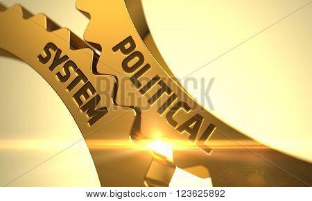 Political System on Mechanism of Golden Metallic Cogwheels with Lens Flare. Political System on the Mechanism of Golden Metallic Cogwheels with Glow Effect. 3D Render.