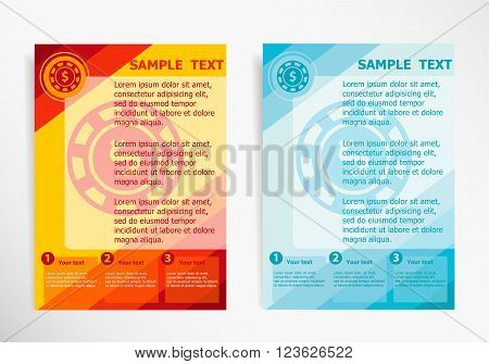 Casino Gambling Chips Icon On Abstract Vector Modern Flyer