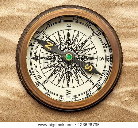 Vintage Brass Compass On Sand