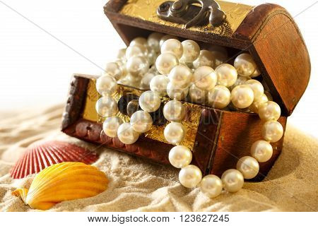 Treasure Chest With Seashells And Pearl