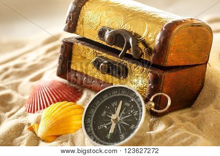 Treasure Chest With Seashells And Compass