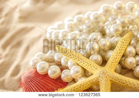White Pearl And Seashells On Sand