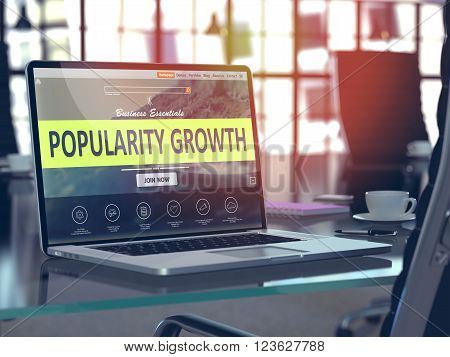 Modern Workplace with Laptop showing Landing Page with Popularity Growth Concept. Toned Image with Selective Focus. 3D Render.