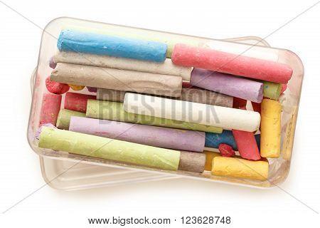 Pastel Chalks In Box On White
