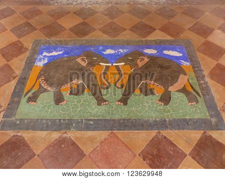 Jaipur, India - November 13: Detail Of Floor Painting At Royal Cenotaphs On November 13, 2014 In Jai