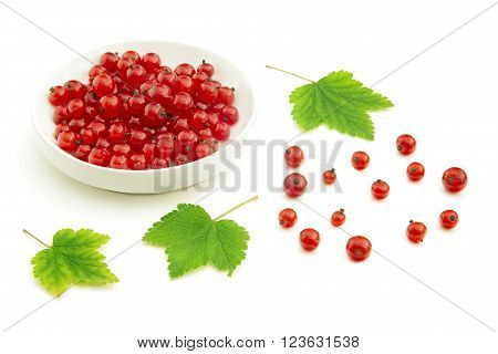 View of fresh red currant berries placed loosely or in a bowl