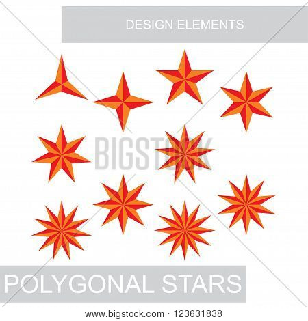 set of polygonal stars for design, vector illustration
