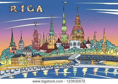 Vector sketch of Old Town and River Daugava at night, Riga Cathedral, Saint Peter church, Cathedral Basilica of Saint James and Riga castle in the background, Riga, Latvia