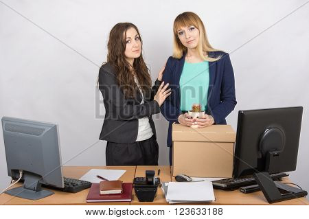 Young Office Employee Who Was Fired Colleague Consoles