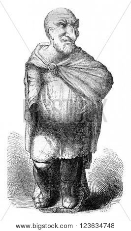 Louvre Museum, Maccus or antique Pulcinella, vintage engraved illustration. Magasin Pittoresque 1870.