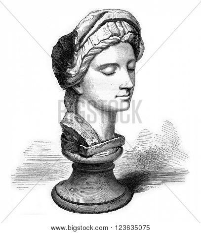 Kensington Museum, London, A marble Michelangelo, vintage engraved illustration. Magasin Pittoresque 1869.