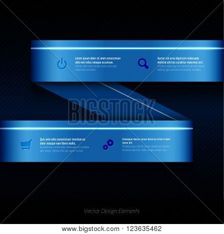 Modern Business Ribbon. Origami Style Banner. Vector Design Elements.