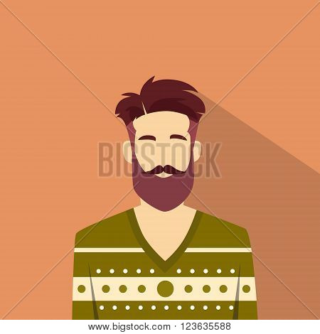 Profile Icon Male Avatar Man Hipster Style Fashion Cartoon Guy Beard Portrait Casual Person Silhouette Face Flat Vector Illustration