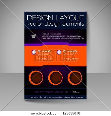 Editable Vector Template Of Flyer For Business Brochure, Presentation, Website, Magazine Cover.