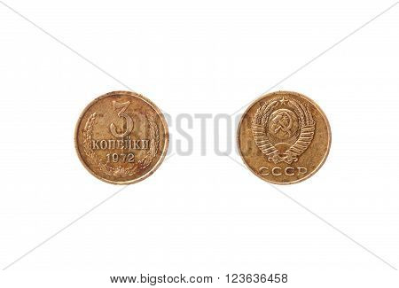 The coin denomination USSR 3 kopek 1972 release. Obverse and reverse. Isolated on white.