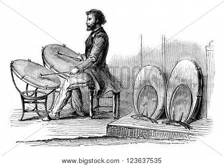 Timpani Mr. Sax, vintage engraved illustration. Magasin Pittoresque 1869.