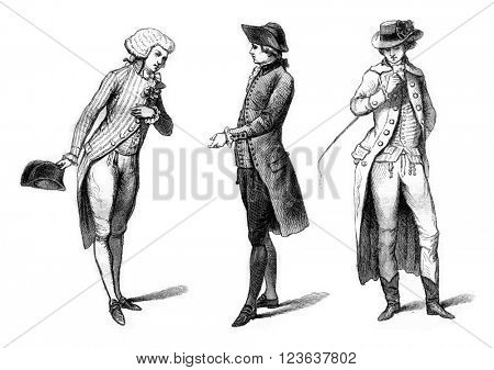Young elegant in evening dress (1787), Bourgeois in mourning (1786), Horse costume in the English (1786), vintage engraved illustration. Magasin Pittoresque 1869.