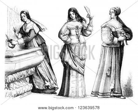 Chambermaid, Lady small toilet, province of Bourgeois, vintage engraved illustration. Magasin Pittoresque 1857.