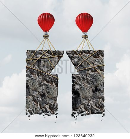 Team work success business concept and combined effort symbol as a group of air ballons tied to heavy rocks shaped as an upward arrow as a financial cooperation icon as a 3D illustration.