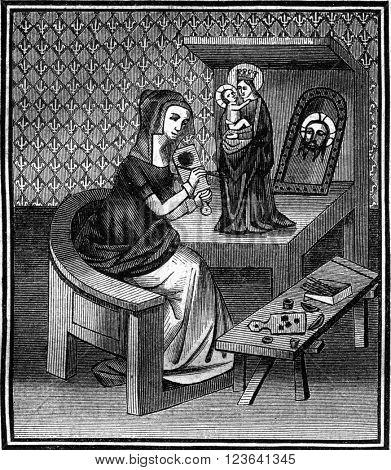 Manuscript famous women of Boccaccio, fifteenth century, vintage engraved illustration. Magasin Pittoresque 1847.