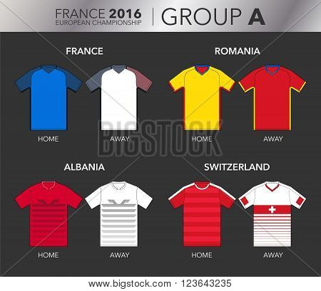 Vector Illustration of home and away football EURO 2016 shirts from the teams of the group A (France, Romania, Albania and Switzerland)