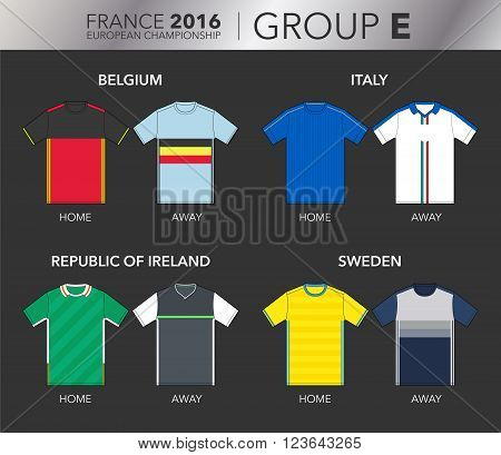 Vector Illustration of home and away football EURO 2016 shirts from the teams of the group E (Belgium, Italy, Republic of Ireland and Sweden)
