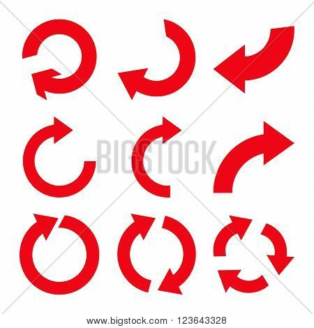 Rotate Clockwise vector icon set. Collection style is red flat symbols on a white background.