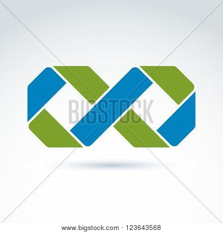 Vector infinity icon isolated on white background illustration of a bright complex eternity symbol geometric abstract perpetuity sign.