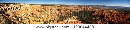 Ultra wide panorama of Bryce Canyon National Park from Bryce Point (Utah, USA)