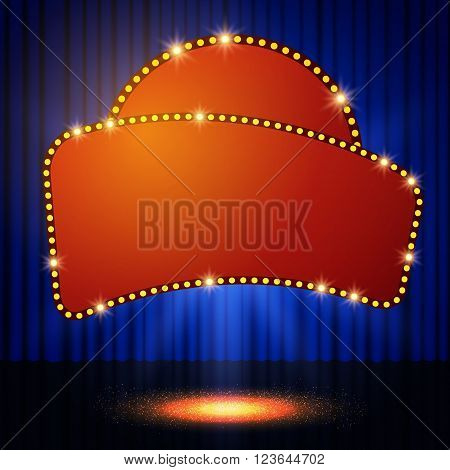 Shining Retro Casino Banner On Stage Curtain