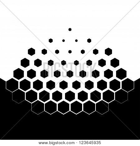 Abstract concept of dissolution. Black and white scheme of erosion. Vector illustration. Hexagonal particles. Monochrome scientific background.