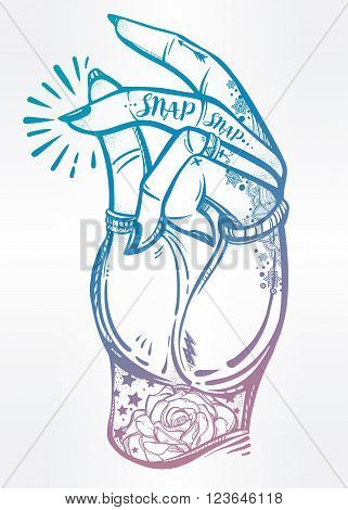 Hand drawn pop art flesh snapping fingers poster. Rock and Roll hand sign. Vector illustration isolated. Tattoo design, music, summer, print symbol for your use.