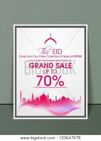 Grand Sale Pamphlet, Banner or Flyer design on occasion of Muslim Community Festival, Eid celebration.