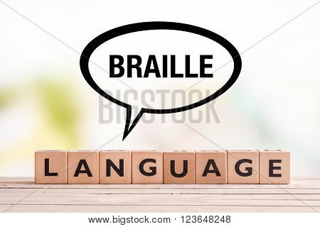 Braille Language Lesson Sign On A Table