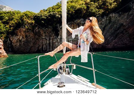 Sexy Long Hair Woman In Swimwear Yachting Picturesque Landscape