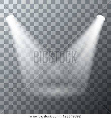 Vector modern spotlights scene with light effects on transparent background