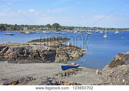 yachts moored in Oak Bay on Vancouver Island
