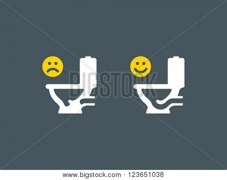Clogged and unclogged toilet icons