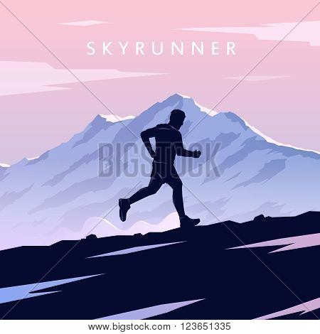 Mountain Running. Mountain Run. Runner silhouette. Running man. Vector running. Vector runner. Skyrunning poster Extreme sports. Vector Mountain landscape. Outdoor sports. Hiking