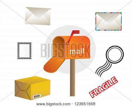 color post office and mailbox vector illustrations
