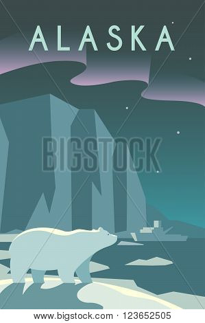Vector retro poster in art Deco style. The state of Alaska. Arctic. Polar night. Polar bear. Ice floes and icebergs. Flat design.