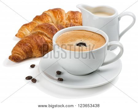 Traditional breakfast - coffee croissant milk. Isolated on a white background.