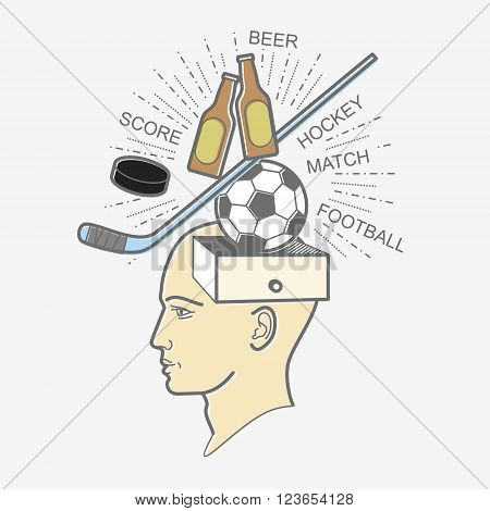 The man's head. Illustration in the style of linear design on a man's mind: football, sports, beer, hockey, puck, stick, goal.