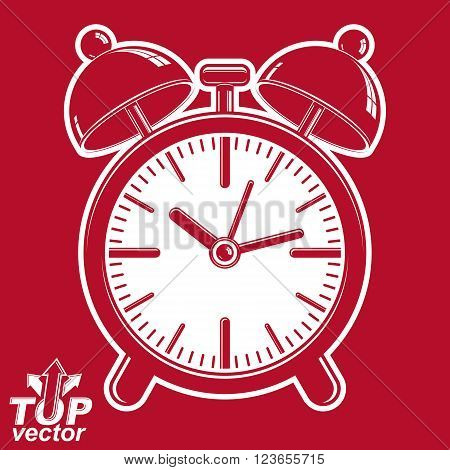 Vector 3d alarm clock with two symmetric bells wake up conceptual icon. Graphic design element, retro timer with clang bells