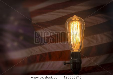 Decorative antique style filament light bulb with American flag