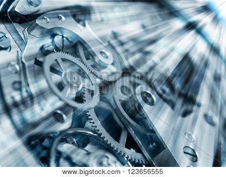 Metal Cogwheels in clock mechanism , abstract  sun beams,  Concept 