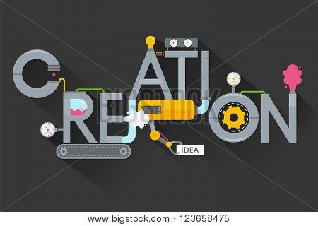 The creation of creative ideas.Creative process.Development production, plant and creation, invention and solution.Word creation in the form of metal pipes