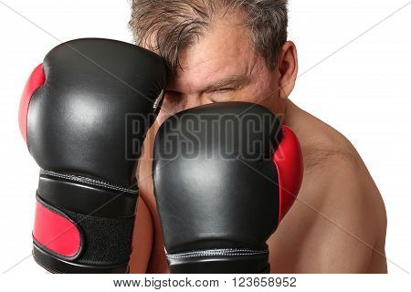 Boxer in stance. Isolation on a white background. Clipping path.