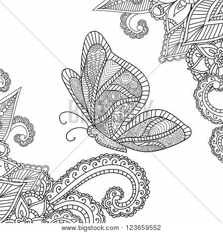 Coloring pages for adults.Henna Mehndi Doodles Abstract Floral Paisley Design Elements with a butterfly MandalaVector Illustration. Coloring book. Coloring pages for adults.