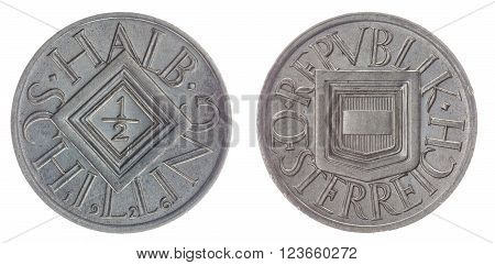 Half Schilling 1926 Coin Isolated On White Background, Austria